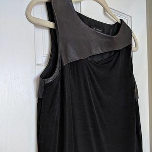 Rag + Bone black lamb leather combo slit top